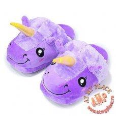 Домашние тапочки Единорог Фиолетовые