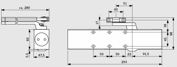 Монтажные размеры дверного доводчика